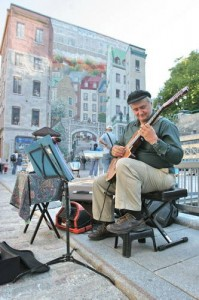 Homeless street musician